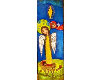 Nativity Stars with Angels  - Original Painting on Canvas Folk art by FLOR LARIOS  (8x 24 INCHES)