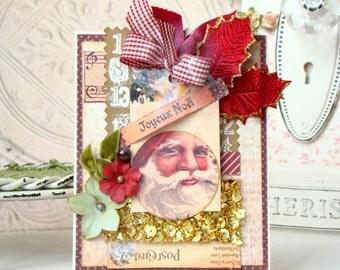 Joyeux Noel  Handmade card - Card- Handmade - Shabby Chic style greeting Card, Christmas Card, Unique Card