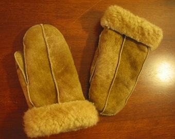 Vintage 60s 70s Fuzzy Suede and Shearling Mittens