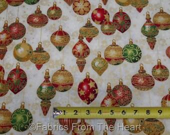 Holiday Flourish 9 Christmas Decor Red Green Gold Metallic Balls BY YARDS RK Cotton Fabric
