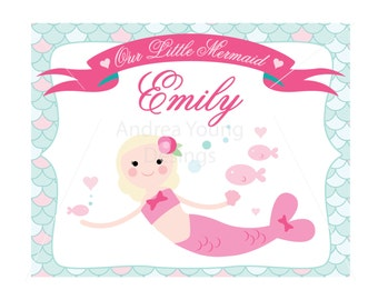 Our little mermaid custom name 8x10 Lustre Print