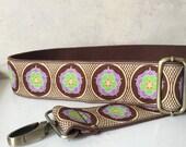 Custom Bag Strap,  Brown and Purple Floral Design