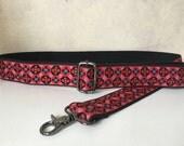 Bag Strap, Adjustable Shoulder Strap for Handbag, Vintage Red and Pink Trim