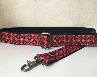 Bag Strap, Adjustable Shoulder Strap for Handbag, Vintage Red and Pink Trim