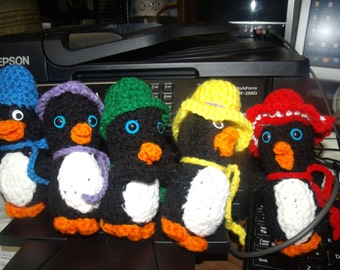 Crocheted Christmas Toys  Ornaments - Penguin - Gift - Decoration