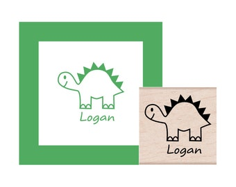 Dinosaur Stegosaurus Rubber Stamp with Personalization