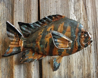 Sergeant Major Fish - copper metal fish art sculpture - wall hanging - with slate black and naturally-aged patinas - OOAK