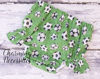 Baby Girl Clothes, Toddler Girl, Spring Girls Ruffle Leg Diaper Cover by Charming Necessities Soccer Sister Baseball Fan