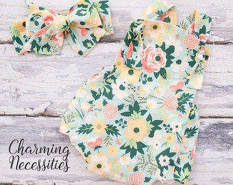 Baby Girl Clothes, Fall Toddler Girl Clothes, Sunsuit Bubble Romper in Wildflower Meadow by Charming Necessities