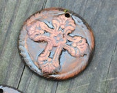 Pottery Bead with Cross in a Mix of browns, coppers and golds