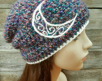 Slouchy Beanie with Moon Design, Slouchy Beanie, Dread Hat, Slouchy Hat, Tam Hat Purple, Teal, Red, Tan, Gray, and Cream Hat - MADE TO ORDER
