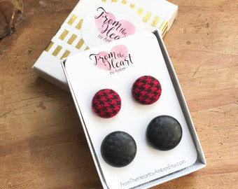 Fabric Button Earrings,Black and Red, Red Gingham, Fall Jewelry, Stud Earrings, Button Jewelry, Accessory