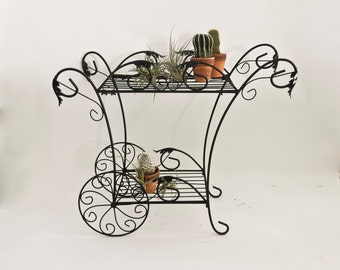 Large Vintage Wrought Iron Plant Stand Cart