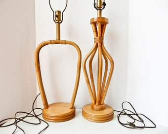 Pair of Vintage 1950s Rattan Bamboo Table Lamps