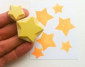 star hand carved rubber stamps, handmade rubber stamp set, large and small stars, solid star stamps