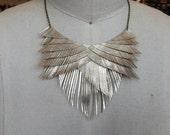 Gold Metallic Leather Fringe Necklace
