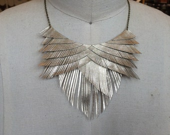 Gold Metallic Leather Fringe Necklace