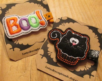 Halloween Hair Clip- Choose from BOO or a Black Cat Cup Cake- FREE SHIPPING