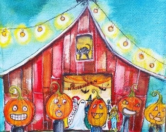 NEW, Halloween Barn Bash,  ORIGINAL Mixed Media painting, gallery wrap canvas