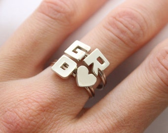 Set of 4 Initials Rings Sterling silver , Made to order in your size, Custom Letter Ring ,  Ring Lyrics, Personalized jewelry, Monogram ring
