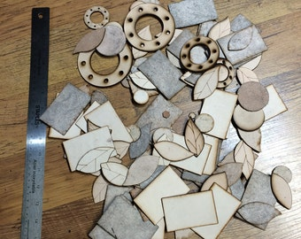 A bag of leather shapes