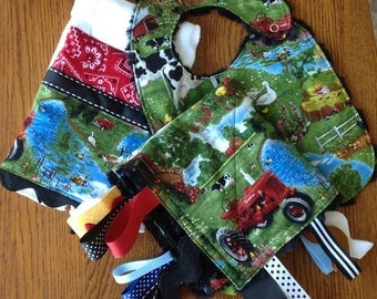 New...Cute Farm Animal Minky Baby Gift Set - Lovey, Burp Cloth and Bib...Annual Bib Sale - Through the last day of May