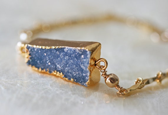 Druzy Bracelet- Blue Druzy Bracelet -- Ready to Ship - Delicate Bracelet- Gold Bracelet