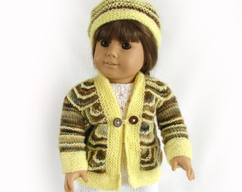Doll Sweater Jacket and Hat Yellow and Brown Doll Sweater and Hat American Girl Doll Winter Sweater 18 inch Doll Knit Yellow Sweater and Hat