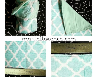 Large Cotton Flannel Terry-Cloth Baby Wash Cloth Aqua 10x11 Set of Two