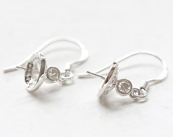 Two Pieces (One Pair) White Gold Tone S925 Sterling Silver Earrings with Rhinestone Setting Cap - Earring Blank (WG65)