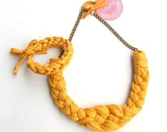 Mustard Braided Necklace, Chunky Necklace, Mustard Knotted Necklace, Yellow Cotton Necklace, Mustard woven necklace, Ochre Necklace