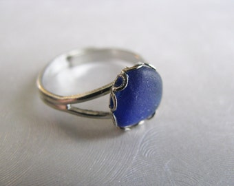 Sea Glass Ring - Cobalt Blue Sea Glass - Beach Glass Ring - Sea Glass - Sea Glass Jewelry