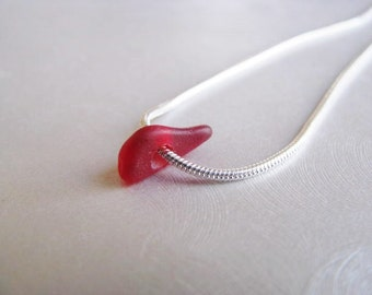 Sea Glass Pendant - Small Rare Red - Simple Elegance - Beach Glass Jewelry