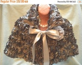 MidWinter Sale 20% Off CAPELET Cover Up Romantic 3D Fabric Shawl Old Hollywood Glam Girl - Handmade - Gray