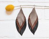 recycled black brown and gold leather feather earrings, ombre, boho, earrings, dangle, feathers, handmade, tassel earrings, ear, stacylynnc