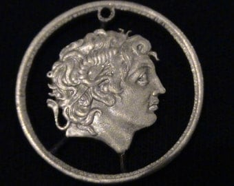 GREECE - cut coin pendant - Alexander the Great - 1992