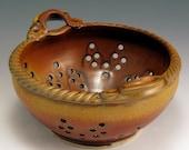 Sunburst Red/Gold Glaze Colander, Hand-Thrown, Stoneware SHIPPING INCLUDED