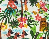 One (1) Yard - Leis, Luaus and Aloha Hula Girls Fabric Alexander Henry Fabric 15093AR Natural