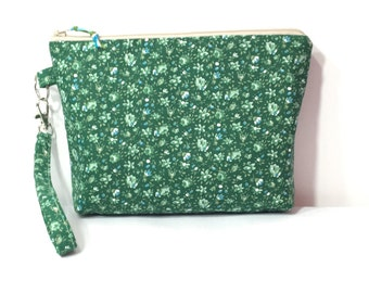 Green with Blue Flowers~ Norah Wristlet