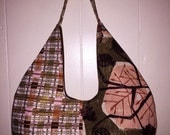 Mid Century Modern Vintage Fabric Hobo Bag Purse Retro Pink Brown Peach Gold