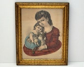 Antique Currier & Ives Lithograph Household Pets