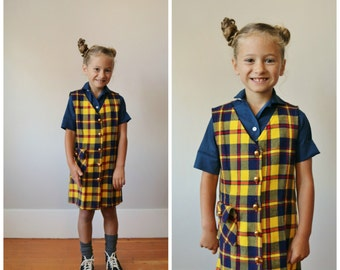 1970s Marigold & Navy Plaid Dress >>> Size 5t/6
