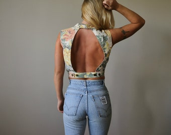 1990s Faded Floral Vest >>> Size Medium
