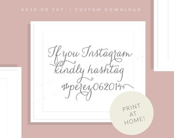 Gray Wedding Printable Instagram Sign   Downloadable Hashtag Sign   Social Media Printable Sign   Printable Reception   Jessica Collection