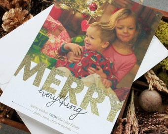 Merry Everything - Glitter Family Photo Card, Personalized Christmas Card, Holiday Photo Card, Christmas Card, Baby Photo Christmas Card