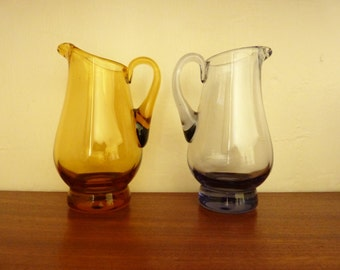 Two Vintage Glass Jugs - Small Vases - Posy Vases - Table Decor - Translucent Lilac and Golden Yellow