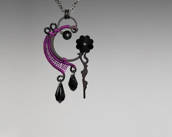 Steampunk Pendant With Black Swarovski Crystals and Amethyst wire wrapping, Steampunk Jewelry, Swarovski Necklace, Clock Hands, Metis v8