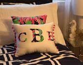 New MONOGRAM pillow made with Lilly Pulitzer 2015 Sippin and Trippin by Garnet Hill fabric