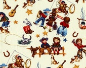 CLEARANCE RODEO KIDS Vintage style Cowboys and Cowgirls 1/2 Yard