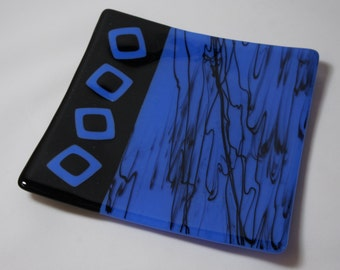 Blue and Black Contemporary Glass Plate, Fused Glass Plate, Home Decor, Housewares, Decorative Plate, Art Glass Plate